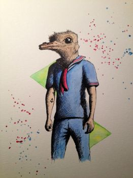 Ostrich in Sailor Suit by LordColinOneal