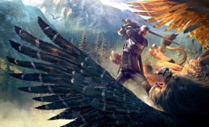 CDPR Witcher 3  Geralt batteling Griffin uber by Scratcherpen