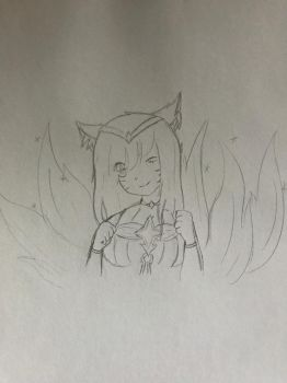 Star guardian Ahri sketch by AnoldMemory