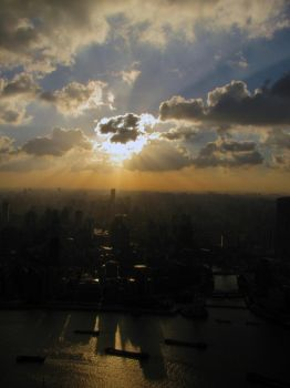Sunburst Over Shanghai by spinninghead