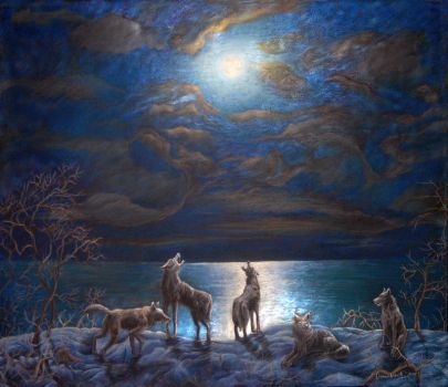 Moon and Wolves by CalciteMink1610