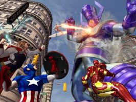 Galactus vs the avengers by HAL001