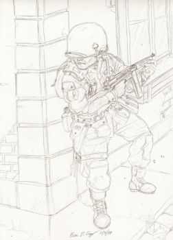 101st Soldier taking cover by warman707