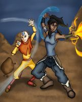 The avatar legacy: Aang and Korra by ultimatejulio