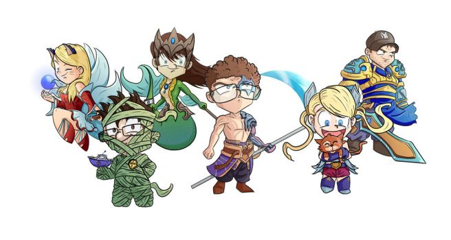 CG group as League of Legends characters by DrawingTheFamous