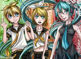 Vocaloid trio: Len, Rin, and Miku by Clannadlvr123