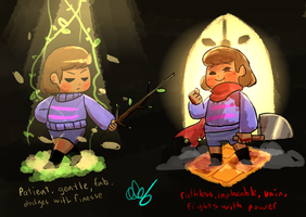 Silly headcanony nonsense about Frisk by guywholikesflying