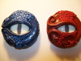 Blue and Red Dragon Jar Lids by ashitx