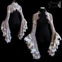 Dove grey lace shrug, victorian, art nouveau by SomniaRomantica