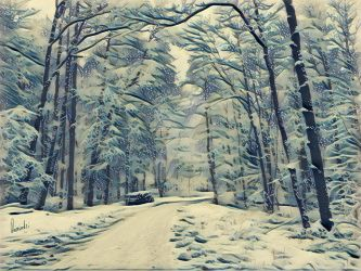 Snow-covered forest by Pappart