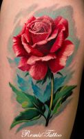 Realistic Rose Tattoo Color by Remistattoo