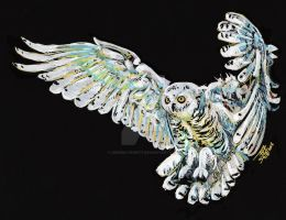 Snowy owl fly by dessinateur777