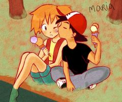 Ash and Misty - Ice Cream by Ribon95