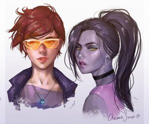 Tracer and Widowmaker by aromasensei