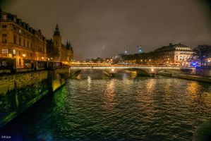 the Seine by night by Rikitza