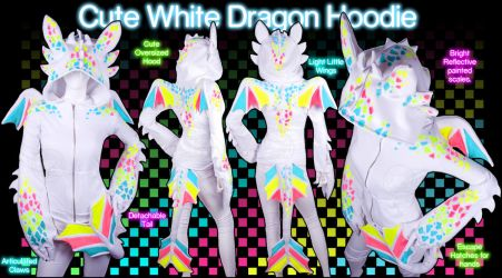 Cute White Dragon Hoodie by KayPikeFashion
