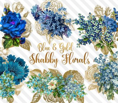 Blue and Gold Shabby Floral PNG clipart by DigitalCurio