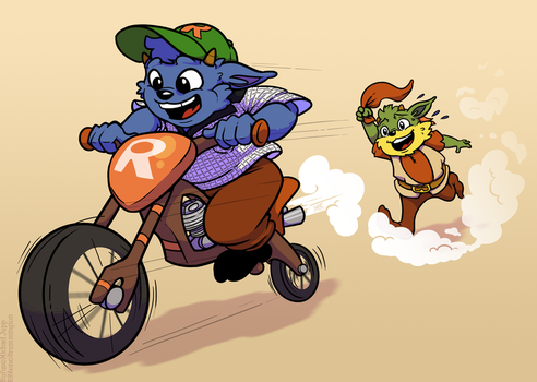 Comm - Ribbon's Motorbike by raygirl
