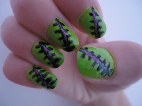 Frankenstein Nails by nekoxkakashi