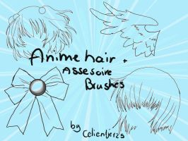 Anime hair+assesoire brushes by celientje125