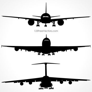 Airplanes Silhouette Front View Free Vector by 123freevectors