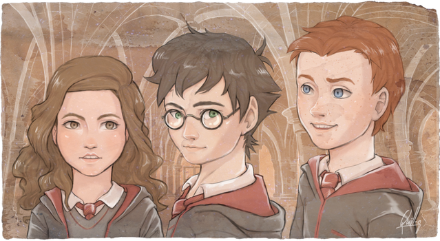 HP- golden trio by Quill-q