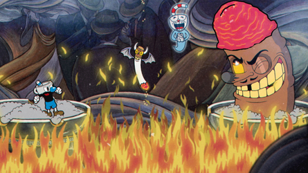 Cuphead and Mugman battleing swollen dick by TheDeath1