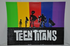 Teen Titans Duct Tape Painting by futureprodigy24