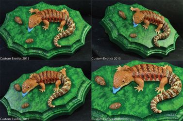 Polymer Clay Blue Tongue Skink with Dubia Figurine by CustomExotics