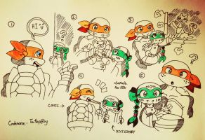 TMNT Vespertine: Mikey and Vee Vee Moments by Codename-Turtlefairy