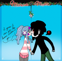 Noodle Mistletoe meme W/ Pierrot-Ghosts by Triickaro