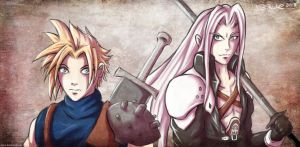 Cloud and Sephiroth by RiehlART