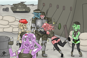 Soldier and slime girls by ChromeFlames