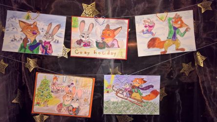 Zootopia winter holidays postcard set by MurLik