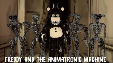Freddy and the animatronic machine by TotallyArealroBot