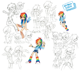 Rainbow Dash Doodles by Pappomut