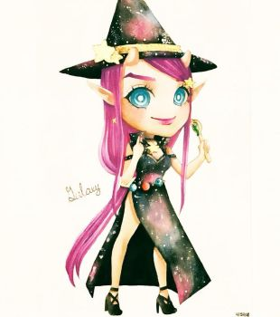 Watercolor Painting of Chibi Galaxy by MikaLinCow