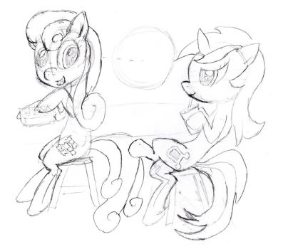 Lyra and Bon Bon sketch by InfinityDash