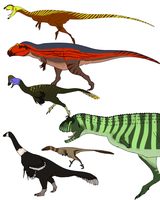 Assorted Theropods by StygimolochSpinifer
