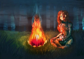[CM] Shepard in the forest by louverusee
