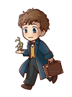 Newt chibi (and Pickett) by Kata-elf