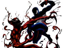 Black Suit Spiderman Vs Carnage Color (Final) by MikeES