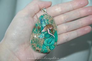Flying Fish Mermaid Handpainted Pendant by Mocten