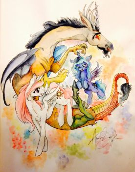 Discord and the little princesses by QueenAnneka
