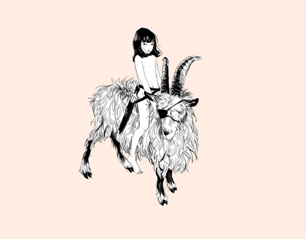 girl on a goat by xuh
