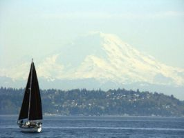 Mount Rainer and a Sail Boat by ihopetherespudding