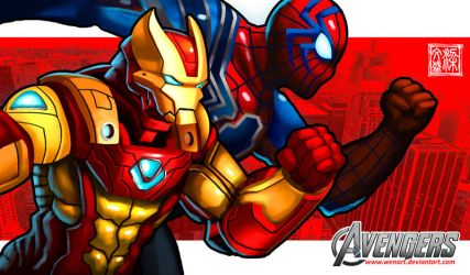 Ironman and Spiderman by Wenart