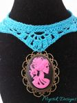 Pink Skeleton Cameo Turquoise Lace Choker by MystikDesigns