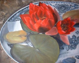 red water lilies oil painting by ingrid
