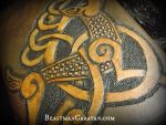 Celtic Knotwork Stag Flask Details by The-Beast-Man